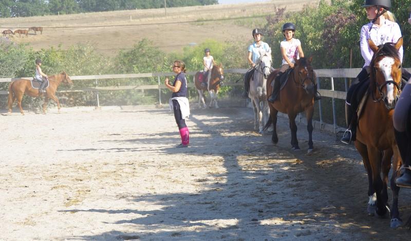 Cours collectif d'équitation cheval en carriere pour les enfants, les adolescents et les adultes au centre equestre de la dame blanche chaponost lyon rhone